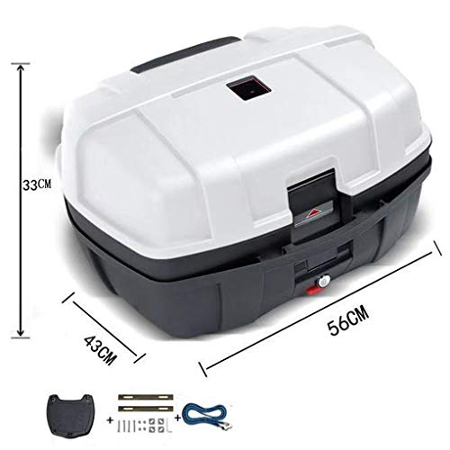 YZJJ 47L Universal Motorcycle Rear Top Box Tail Trunk Luggage Case, Hard Case with Mounting Hardware