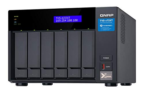QNAP TVS-672XT-i3-8G, Thunderbolt 3 NAS-System, M.2 PCIe NVMe, SSD-Steckplätze, 4K-Medienwiedergabe, schwarz