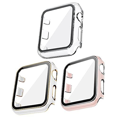 Kdely [3 Pack] Funda para Apple Watch 42mm Series 3/2/1, Cristal Templado Carcasa Protectora Cover Pantalla Antiarañazos (42mm, Oro/Blanco+Plata/Azul+Transparente)