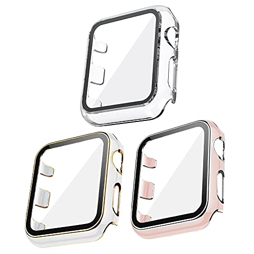 Kdely [3 Pack] Funda para Apple Watch 40mm Series 6/SE/5/4, Cristal Templado Carcasa Protectora Cover Pantalla Antiarañazos (40mm, Oro/Blanco+Rosa/Plata+Transparente)