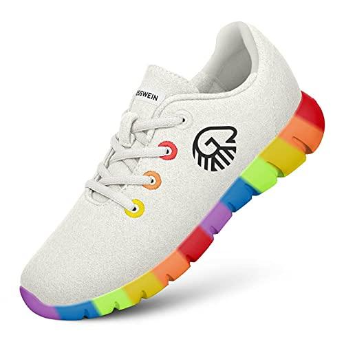 GIESSWEIN Merino Runners Pride M - Atmungsaktive Sneaker aus Merino Wool 3D Stretch, Leichte Freizeit Schuhe mit Wechsel-Fußbett, Sommerschuhe aus Merinowolle