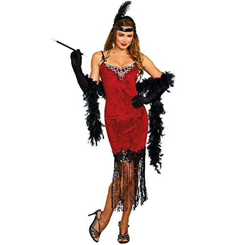 Dreamgirl Disfraz de Charleston rojo rub aos 20, fiesta temtica carnaval (XL)