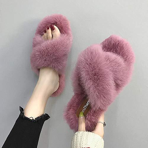 B/H Pantuflas de espuma viscoelástica para hombre, cálidas y de lana, lavables, planas para interiores y exteriores, para uso en interiores y exteriores.
