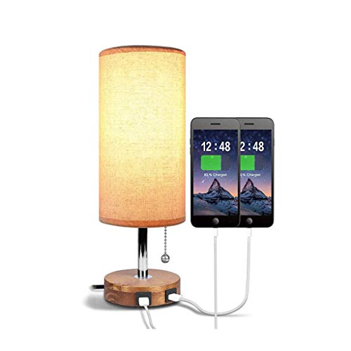 WFL-lámpara de escritorio Lámpara de mesa de metal Tela, USB doble de carga luz del escritorio de luz de la noche, E26 * 1 botón interruptor de tirón, Habitación Sala de Estudio de la cabecera Lámpara