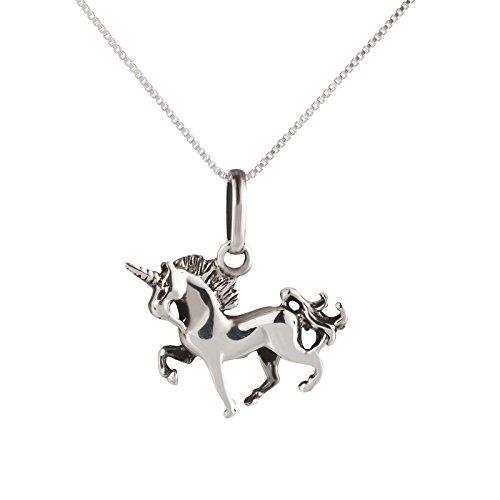 SL-Silver – Juego de cadena y colgante con diseño de unicornio, plata de 925, caja de regalo