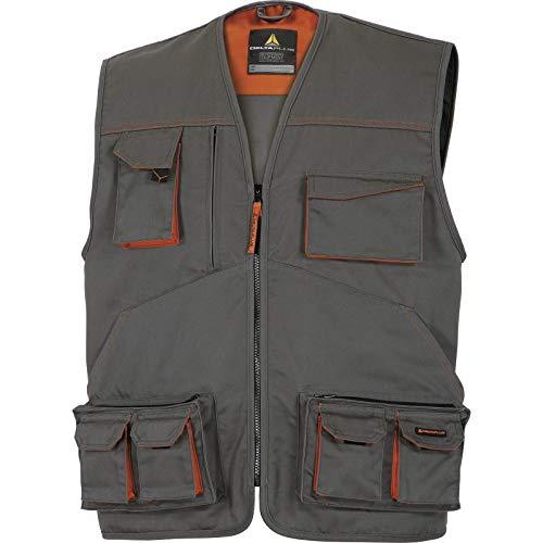 Delta Plus M2GI2GRXX Mach2 - Chaleco de trabajo (poliéster y algodón, talla XXL, 10 unidades), color gris y naranja