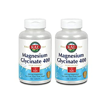 KAL Magnesium Glycinate 400 | Vegan Chelated Non-GMO Soy Dairy and Gluten Free | 90 Servings | 2 pk