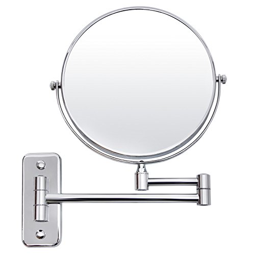 SONGMICS 7x Magnifying Wall Mount Makeup Mirror 8-Inch Two-Sided Extendable Bathroom Vanity -