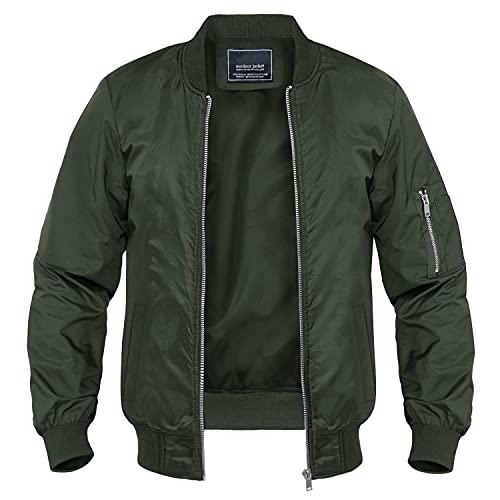 MAGNIVIT - Chaquetas casuales para hombre, ligeras, cortavientos al aire libre, con cremallera completa, con múltiples bolsillos Verde Ejercito Verde XXL