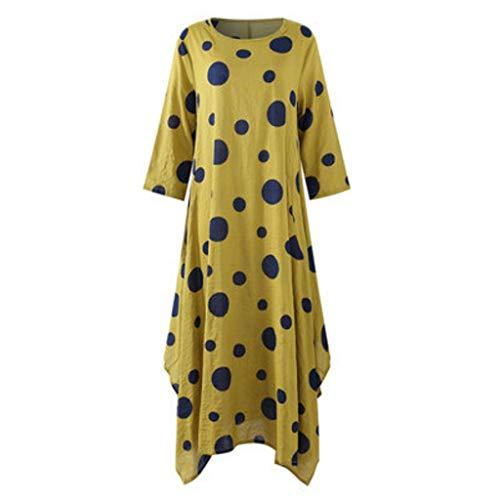 SHYPT Polka Dot de otoño Llamada de Largo Vestido de algodón y Ropa de Cama Retro Mujer, diseño Amarillo Vestido de Ladies (Size : Large)