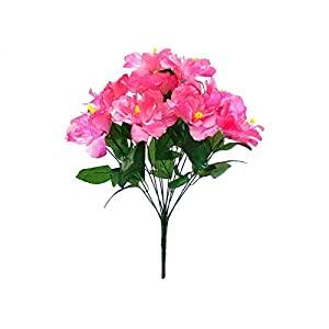 Pink Hibiscus Bush 12 Artificial Flowers 20″ Bouquet -Artificial Plants & Flowers-Artificial Flowers–Wedding Decorations-Flowers-Poinsettia Flowers Artificial-Flower Wall