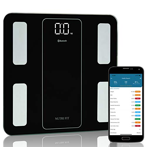 NUTRI FIT Body Fat Scale Bluetooth Digital Smart Bathroom Weight Scale Body Composition Analyzer Scanner Measure for Body Weight, Fat Percentage, BMI, Muscle, Sync APP 400lbs Most Accurate Wireless