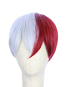 HANGCosplay Short Red and White Wig for Costume Party and Daily Use Shoto Todoroki Cosplay