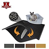 Pieviev Cat Litter Mat Litter Trapper of Large Size 30' X 24', Honeycomb Double-Layer Design Waterproof Urine...