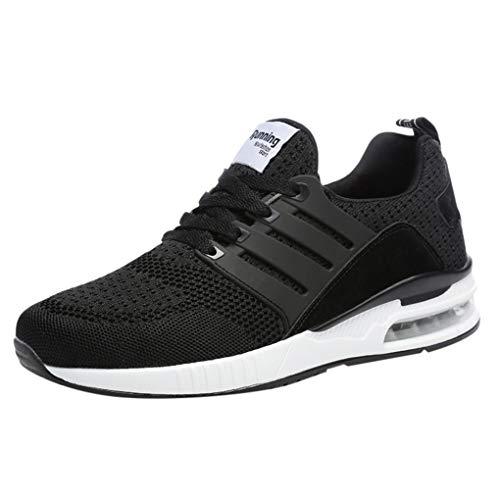 Sneakers für Herren/Skxinn Unisex Laufschuhe Straßenlaufschuhe Casual Sportschuhe Leichte Trainingsschuhe Turnschuhe rutschfeste Atmungsaktiv Mode Freizeitschuhe 36-44 EU Reduziert(Schwarz,44 EU)