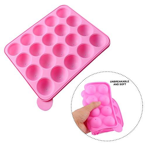 LHKJ 20 Pcs Molde de Silicona para Cake Pop, Molde de Silicona para Cake Pops piruletas Caramelo Chocolate Antiadherente, Color Rosa