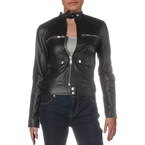 Joe's Jeans Womens The Biker Leather Snap Collar Motorcycle Jacket Black XS