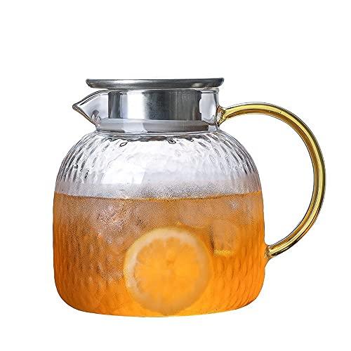 YLiansong-home Jarra de Agua Jarra de té Helado de Vidrio con Tapa de Acero Inoxidable. Jarra de Jugo (Color : Clear, Size : 1000ml)