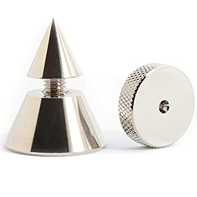 3 Nickel Plated Hi Fi & Turntable Isolation Feet - Audio Isolating Cones with Floor or Shelf Protection Shoes ISOFEE03 by Underwood Audio