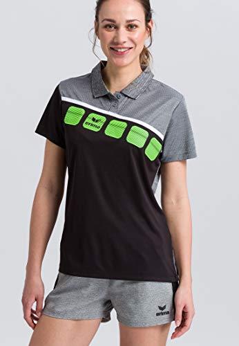 Erima Damen 5-C Poloshirt, schwarz/Grau Melange/Weiß, 48