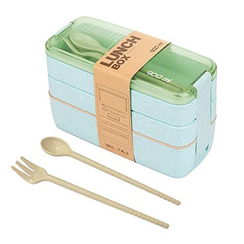 BoloShine Lunchbox Brotdose, Auslaufsicher Bento Box Eco Lunch Box mit 3 Fächern, Biologisch Bento Box Japanisch für Kinder und Erwachsene