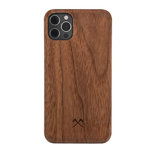 Woodcessories - Handyhülle kompatibel mit iPhone 12 Pro Max Hülle Holz, Echtholz - EcoSlim Hülle (Walnuss)