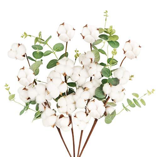 4 Pcs Tallo de Flores Secas Naturales Blancas Rama Flor Seca Algodon Artificiales con 6 Cabezas Bouquet Flores con Hojas de Eucalipto Decoracion para Boda Jarron Hogar Fiesta