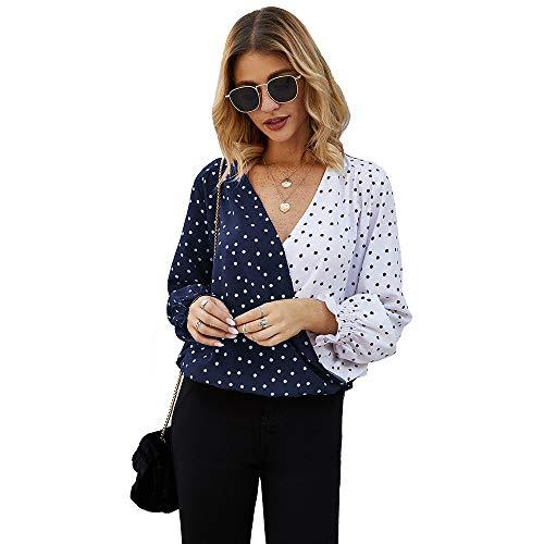 Damenbekleidung New Splicing Wave Point Langarm-Top im Frühjahr und Sommer Casual Shirt
