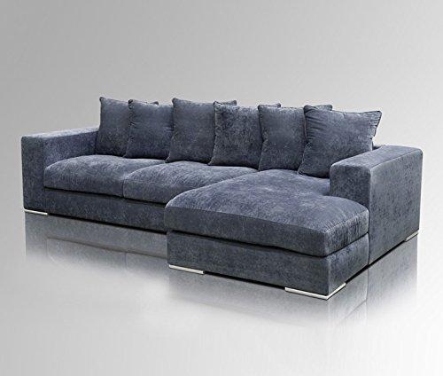 Amaris Elements | 'Moore' Ecksofa Länge 295cm | Couch Samt blau grau Stoff Bezug | Sitz - Garnitur Wohnlandschaft Eckgarnitur