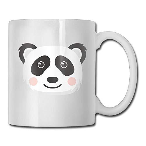 Panda Head Funny Logo Taza de café de 11 onzas Novedad Taza de té blanca de cerámica Taza de café Taza de té Regalo para el día del padre o amigo, Madre, Cumpleaños