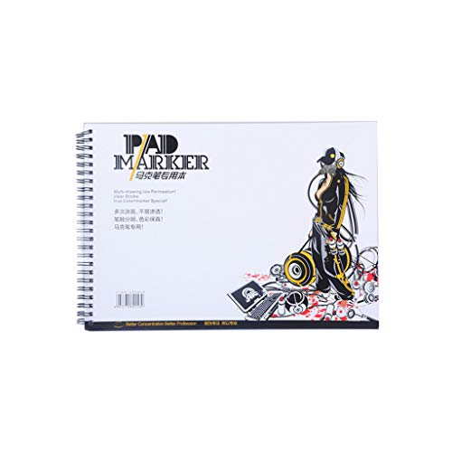 Qirun 34 Hojas A3 / A4 / A5 Papel de Marcador Profesional Espiral Boceto Bloc de Notas Libro de Pintura