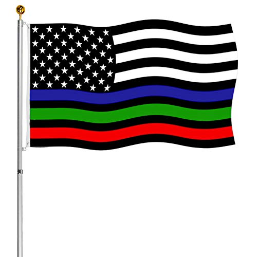 Thin Red Blue Green Line US Flags 3x5 ft Outdoor- Vivid Polyester Police Firemen Military American Flags Banners- First Responder Flags for Honoring Law Enforcement Border Patrol Agents