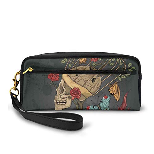 Pencil Case Pen Bag Pouch Stationary,Evil Mexican Sugar Skeleton with Kitsch Bush of Roses Snake and Butterfly Artwork,Small Makeup Bag Coin Purse