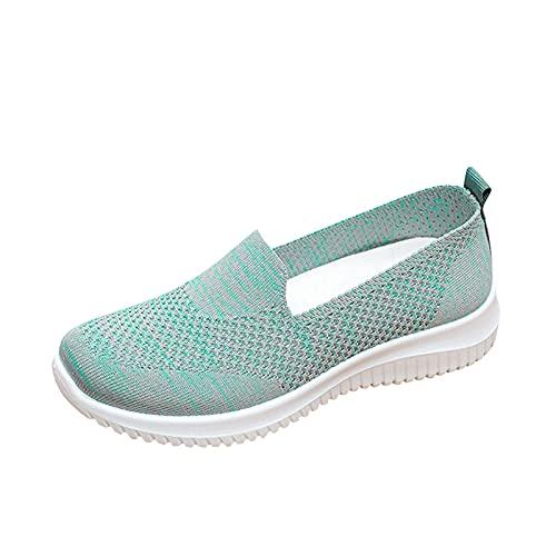 URIBAKY - Zapatillas de deporte para mujer, transpirables, zapatillas de ocio al aire libre, zapatillas de running, running, fitness, transpirables, zapatillas de senderismo, verde, 41 EU
