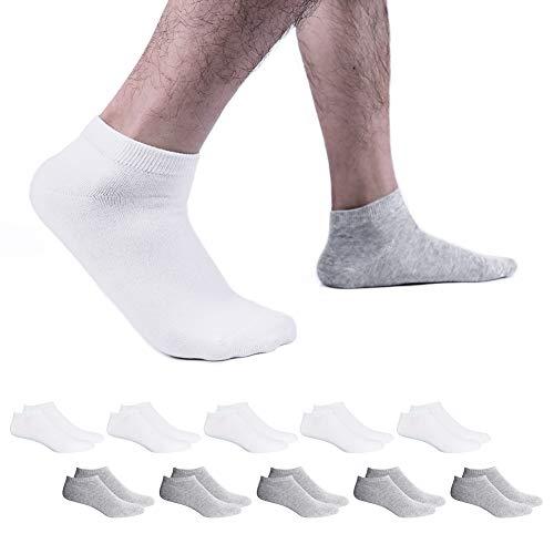 SmartQian Sneaker Socken Herren Damen Baumwollsocken 9/10 Paar Kurze Männer Halbsocken Sportsocken Unisex Unisex(Weiß×5 | Grau×5 43-46)