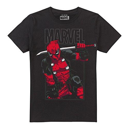 Marvel Herren Deadpool Sword T-Shirt, Schwarz, M