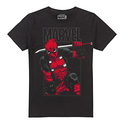 Marvel Deadpool Sword Camiseta, Negro (Black BLK), XL para Hombre