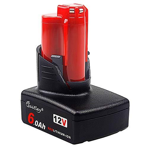 Waitley 12V 6.0Ah/6000mah Milwaukee M12 Li-Ion Batteria di ricambio Per 48-11-2401 48-11-2402 48-11-2411 48-11-2440 C12 B C12 BX