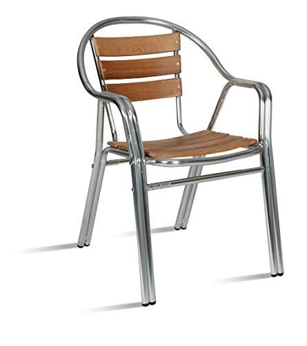 AC014 Silla aluminio y madera apilable con brazos para jardín, terraza, balcón, terrado, exterior,