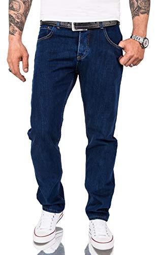 Rock Creek Herren Jeans Hose Comfort Fit Jeans Herrenjeans Herrenhose Denim Stonewashed Basic Weites Bein Raw RC-3100 Dunkelblau W33 L32