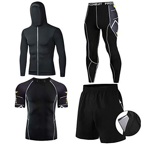 GHQYP Chandal Poliester Hombre Completo Boxeo Entrenamiento,Body Shaping y Ropa de Yoga de Secado Rápido para Correr al Aire Libre 4PCS Set,Style5,L