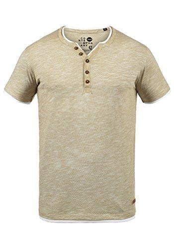 !Solid Digos Herren T-Shirt Kurzarm Shirt Mit Grandad-Ausschnitt Im Double-Layer Look Aus 100% Baumwolle, Größe:M, Farbe:Sand (4073)
