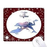 イルカと一緒に泳ぐことを示している オフィス用雪ゴムマウスパッド