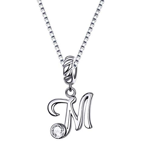SIMPLOVE Initial Necklace 925 Sterling Silver Alphabet M Letter Necklaces Script Name Necklace