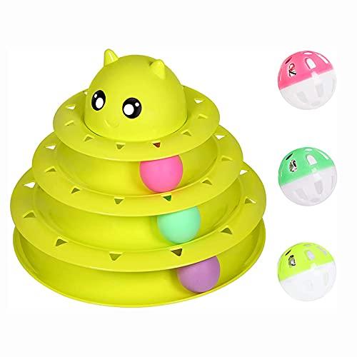 WZWS Juguete para Gatos de Tres Capas, Juguete de Gatito con Rodillos Que Interactúan con Tres Bolas de Colores, Juguete de Bola y Rodillo para Mascotas,Green