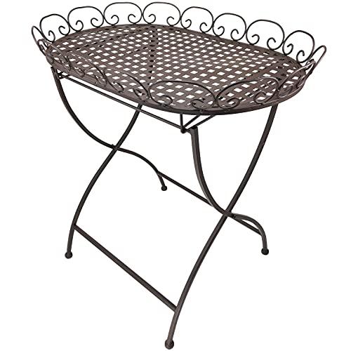 Stehtablett Beistelltisch aus Metall – Tisch klappbar für Indoor und Outdoor 'Calla' braun