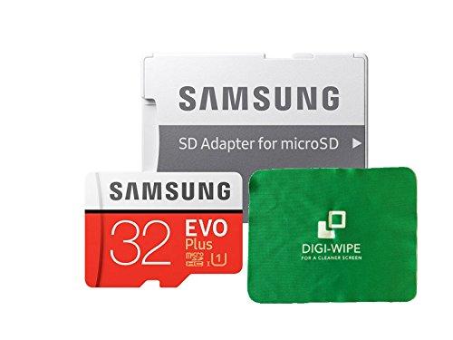 Digi-Wipe 32GB Micro-SD-Speicherkarte Evo Plus für Samsung Galaxy A3, A5, A6, A6, A7, A8, A8, A9, alle 2016, 2017, 2018 Versionen inklusive Mikrofaser-Reinigungstuch