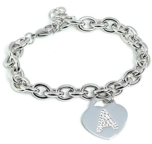 Women's Initial Letter Bracelet with Stainless Steel with Letter NAME - Heart Charm and Silver Crystals - Alphabet - Adjustable Size, Birth, Anniversary, Gift Box Included
