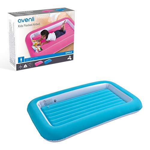Avenli, Cama de Aire para niños con Flocado, Color Azul