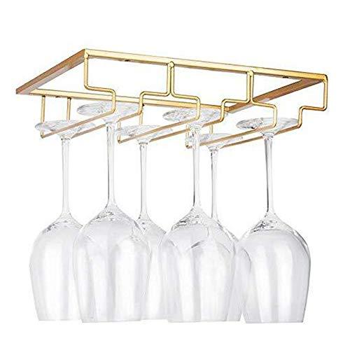 sun gurg Weinglashalter, Gläserhalter Edelstahl zum Aufhängen Glashalter Weinregale Weinglashalterung mit Schrauben 3 Reihen Gläserhalterung für Bar Küche Café (Gold)